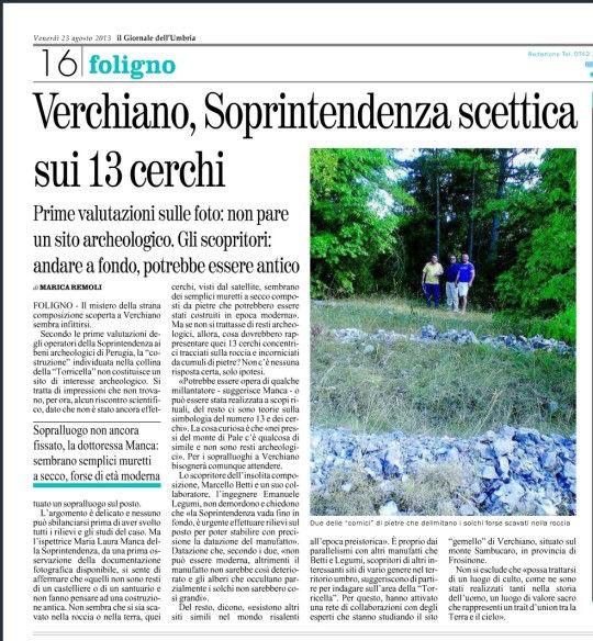 Articolo del Giornale dell'Umbria sui Cerchi di Verchiano