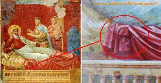 Giotto - immagine nascosta trovata da Luciano Buso. Forse un demone?
