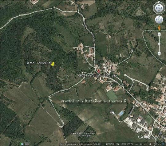 mappa della zona di Verchiano con i misteriosi cerchi