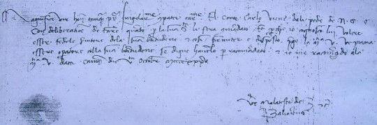 Lettera di Malatesta Baglioni a Cosimo dei Medici