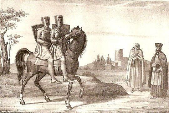 Cavalieri Templari in due sulla stessa cavalcatura