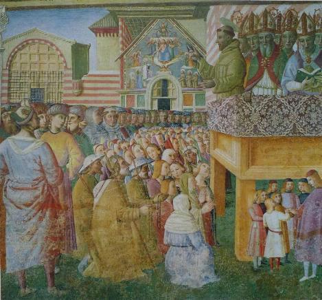 San Francesco che parla alla folla di fronte alla Porziuncola - Tiberio di Assisi